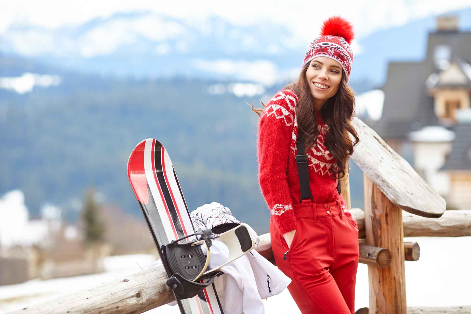 femme aux sports d'hiver